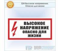 Знак (плакат) «Высокое напряжение. Опасно для жизни», S24 (пластик, 300х150 мм)