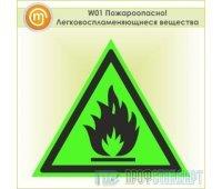 Знак W01 «Пожароопасно! легковоспламеняющиеся вещества» (фотолюминесцентная пленка ГОСТ Р 12.2.143–2009, 125х125 мм)