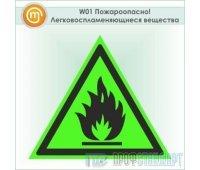 Знак W01 «Пожароопасно! Легковоспламеняющиеся вещества» (фотолюминесцентный пластик ГОСТ Р 12.2.143–2009, 125х125 мм)