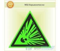 Знак W02 «Взрывоопасно» (фотолюминесцентная пленка ГОСТ Р 12.2.143–2009, 125х125 мм)