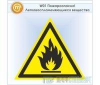 Знак W01 «Пожароопасно! легковоспламеняющиеся вещества» (пластик, сторона 200 мм)