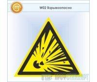 Знак W02 «Взрывоопасно» (пластик, сторона 200 мм)
