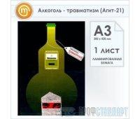 Плакат «Алкоголь - травматизм» (Агит-21, ламинированная бумага, А3, 1 лист)