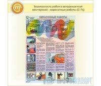 Плакат «Безопасность работ в авторемонтной мастерской - окрасочные работы» (С-76, пластик 2 мм, А2, 1 лист)