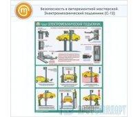 Плакат «Безопасность в авторемонтной мастерской. Электромеханический подъемник» (С-12, ламинированная бумага, А2, 1 лист)