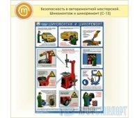 Плакат «Безопасность в авторемонтной мастерской. Шиномонтаж и шиноремонт» (С-13, пластик 2 мм, А2, 1 лист)