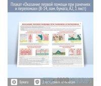 Плакат «Оказание первой помощи при ранениях и переломах» (В-14, ламинированная бумага, A2, 1 лист)