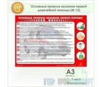 Плакат «Основные правила оказания первой доврачебной помощи» (М-12, пластик 2 мм, А3, 1 лист)