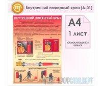 Плакат «Внутренний пожарный кран» (А-01, самоклеящаяся бумага, А4, 1 лист)