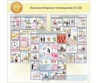 Плакаты «Аккумуляторные помещения» (С-23, пластик 2 мм, А2, 3 листа)