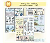 Плакаты «Арматурные работы на стройплощадке» (С-69, пластик 2 мм, А2, 3 листа)