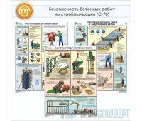 Плакаты «Безопасность бетонных работ на стройплощадке» (С-70, ламинированная бумага, А2, 3 листа)