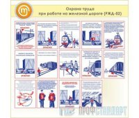 Плакаты «Охрана труда при работе на железной дороге» (РЖД-02, пластик 2 мм, А3, 14 листов)