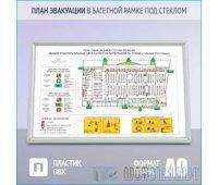 План эвакуации в багетной рамке под стеклом (A0 формат)