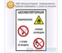 Знак «Аккумуляторная - пожароопасно. Курение запрещено, с огнем не входить», КЗ-01 (металл, 300х400 мм)