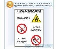 Знак «Аккумуляторная - пожароопасно. Курение запрещено, с огнем не входить», КЗ-01 (пластик, 300х400 мм)