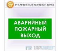 Знак «Аварийный пожарный выход», B44 (металл, 300х150 мм)