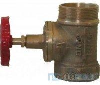 Клапан пожарный латунный прямоточный d 50 муфта-цапка (M-F)